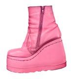 Roze laarzen die op wit worden geïsoleerdj Stock Afbeelding