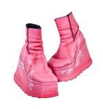 Roze laarzen over wit Stock Fotografie