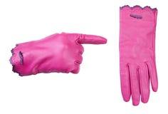 Roze leerhandschoenen Royalty-vrije Stock Fotografie