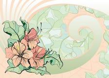 Roze lelies, tegelmozaïek royalty-vrije illustratie