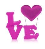 Roze liefdealfabet en de luchtballon van het stoffenhart Stock Foto