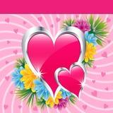 Roze liefdeharten en bloemen Royalty-vrije Stock Foto