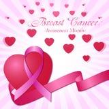 Roze lint en harten De Voorlichtingsmaand van borstkanker Stock Fotografie