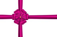 Roze lint met bloemboog Royalty-vrije Stock Foto