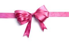 Roze lint met geïsoleerder boog Stock Afbeeldingen