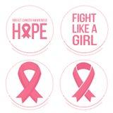 Roze linten voor de voorlichting van borstkanker Royalty-vrije Stock Afbeelding