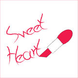 Roze lippenstift/roze lippenstift & ruimte voor uw tekst Stock Foto's