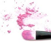 Roze maak omhoog kleur met borstel, verpletterd maak omhoog kleur Stock Afbeelding