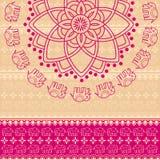 Roze mandalaachtergrond van de hennaolifant Royalty-vrije Stock Fotografie