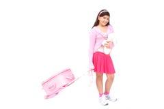 Roze meisje met bagage en stuk speelgoed Royalty-vrije Stock Fotografie
