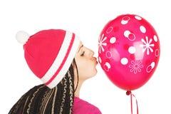 Roze meisje. Roze ballon. Stock Afbeelding