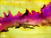 Roze met de Gele Texturen van de Waterverf Stock Foto