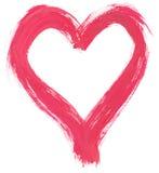 Roze met de hand geschilderd hart Stock Foto's