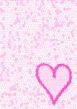 Roze met mozaïek bekleed achtergrond en hart stock afbeeldingen