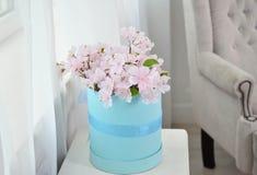 Roze mooie bloemen in een blauwe doos op een witte achtergrond royalty-vrije stock foto