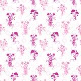 Roze naadloze het patroonachtergrond van bloemboeketten Stock Afbeeldingen
