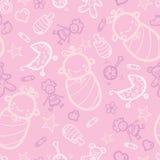 Roze naadloze het patroonachtergrond van het babymeisje Royalty-vrije Stock Afbeeldingen