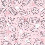 Roze Naadloze Patronen met cupcake, croissant, cake en bonbon op grungeachtergrond Ideaal voor druk op stof en document of royalty-vrije illustratie