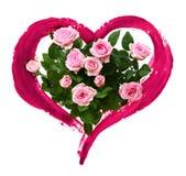 Roze nam bloemen en hart met een borstel worden geschilderd die toe stock afbeeldingen
