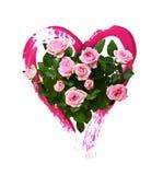Roze nam bloemen en hart met een borstel worden geschilderd die toe royalty-vrije stock foto