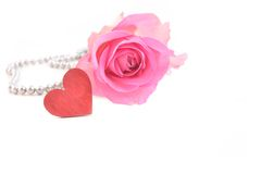 Roze nam en hart toe royalty-vrije stock afbeeldingen