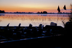 Roze/Oranje Zonsopgang met Blauwe Nevel en Schaduwen ove royalty-vrije stock foto's