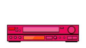 Roze oude uitstekende retro hipster antieke videorecorder voor videocassettes voor het letten van op films, video met veel knopen vector illustratie