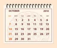 Roze pagina Oktober 2018 op mandalaachtergrond Royalty-vrije Stock Fotografie