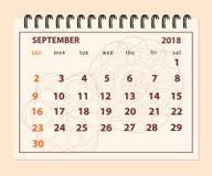 Roze pagina September 2018 op mandalaachtergrond Stock Foto