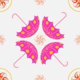 Roze paraplu openwork naadloos patroon Stock Foto's