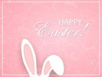 Roze Pasen-achtergrond met ornament en konijnoren Stock Afbeelding