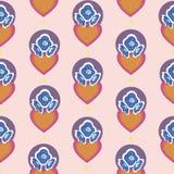 Roze patroon met oranje harten en blauwe bloemen vector illustratie