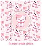 Roze patroon met potten die in kawaiistijl worden getrokken met vector-toegepast monster Stock Afbeeldingen