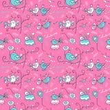 Roze patroon met vogels Royalty-vrije Stock Afbeelding