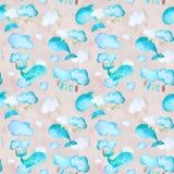 Roze patroon met walvissen stock illustratie