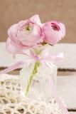 Roze Perzische boterbloemenbloemen (ranunculus) in kristalvaas stock fotografie