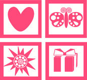 Roze pictogrammen Royalty-vrije Stock Foto's