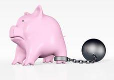 Roze piggy met bal en ketting Royalty-vrije Stock Foto's