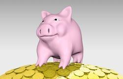 Roze piggy op een stapel van muntstukken Stock Foto