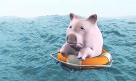 Roze piggy op het levenspreserver Stock Afbeeldingen