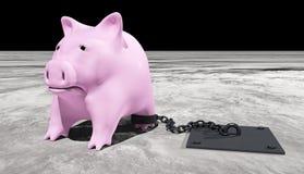 Roze piggy wordt geketend Stock Fotografie