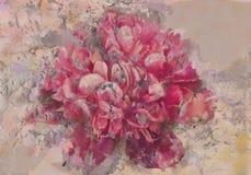Roze pioenfresko royalty-vrije stock fotografie