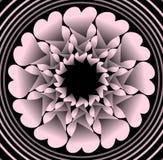 Roze plastic bloem zoals fractal voorwerp op zwarte achtergrond in concentrische cirkelvormen, vectordecoratie met 3d effect Royalty-vrije Stock Fotografie