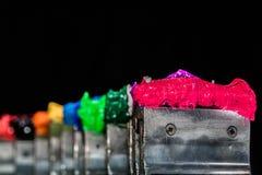 roze plastisol inkt op drukhandvat Stock Afbeelding