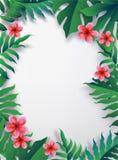 Roze Plumaria-bloem met exemplaarruimte, Zomer Gelukkige Vakantie royalty-vrije illustratie