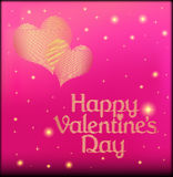 Roze prentbriefkaar op de dag van Valentine met het hart van gouden kleur Royalty-vrije Stock Foto's