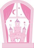 Roze prinseskasteel royalty-vrije illustratie