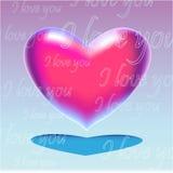 Roze realistisch hart met tekst Royalty-vrije Stock Foto
