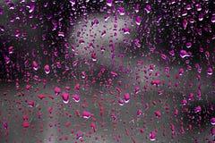 Roze regendruppels Stock Afbeeldingen