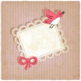 Roze retro achtergrond met vogel Stock Foto's